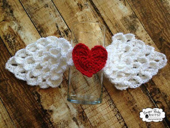 White Angel Wings mit roten Herz häkeln Angel von SugarBabyKnits ...
