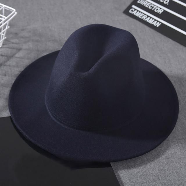 e45852aa088d6 Wool Wide Brim Fedora Pure Felt Bowler Hat Dome Bucket Hat For Women  British Style Feminino Jazz Church Vintage Men Fedora Hat