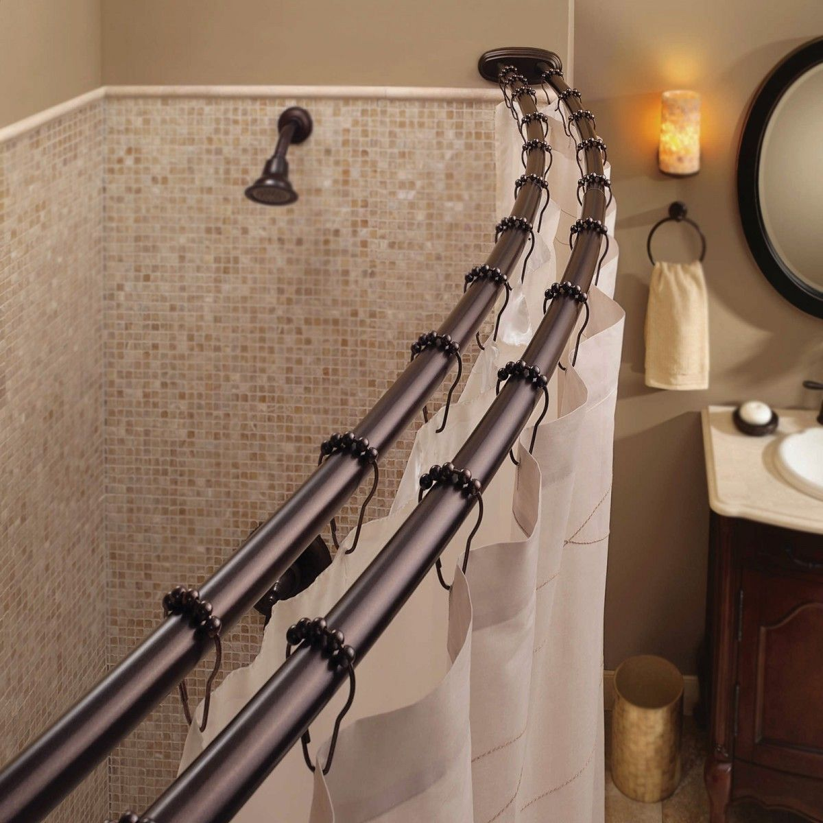 Bennington Adjustable Double Curved Shower Curtain Rod Oil Rubbed
