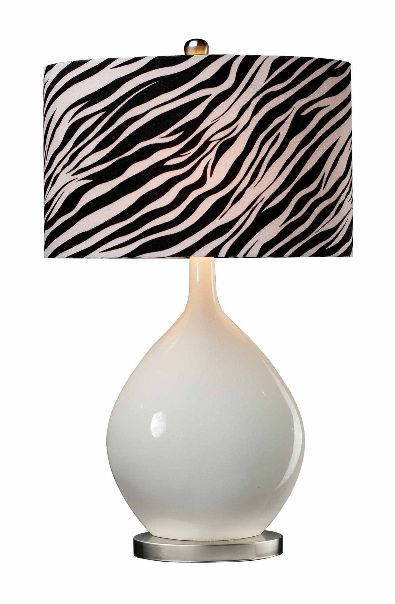 Sterling Industries Ceramic Table Lamp With Zebra Shade Style
