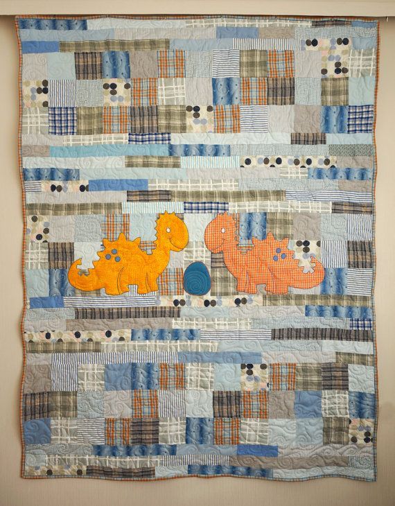 Dinosaur Quilt Patchwork Quilt for Children by SewingLadyQuiltings