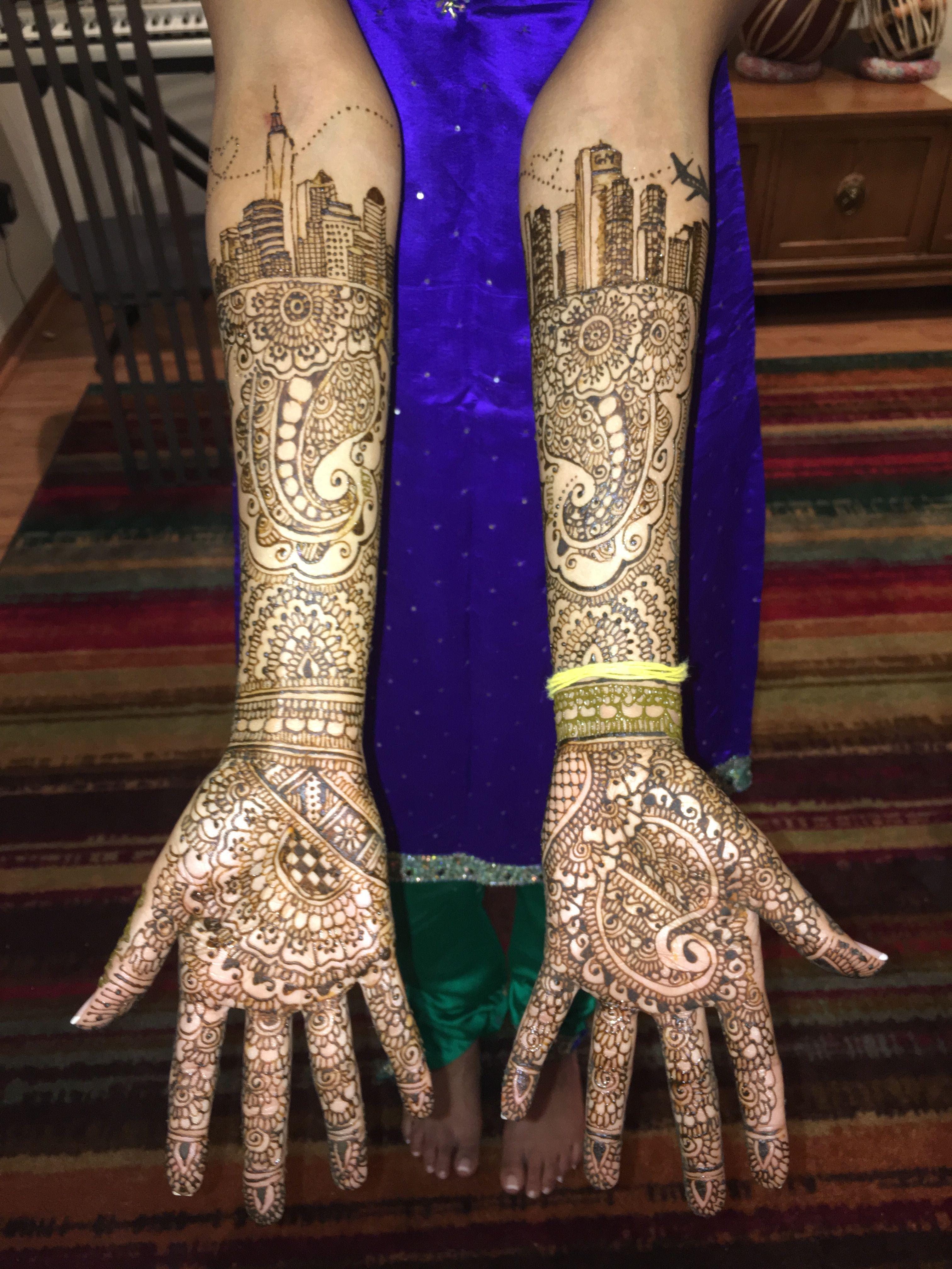 New York Ny To Detroit Skyline Bridal Mehndi Contemporary Henna