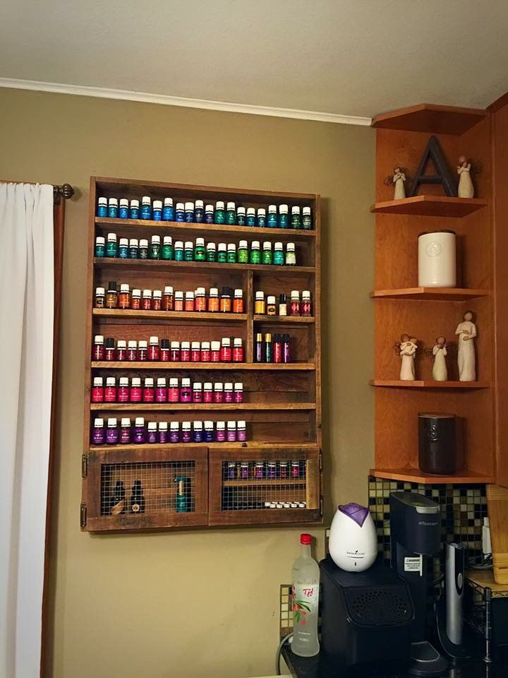 Essential Oils Storage Shelf with Cabinet | Storage shelves, Oil ...