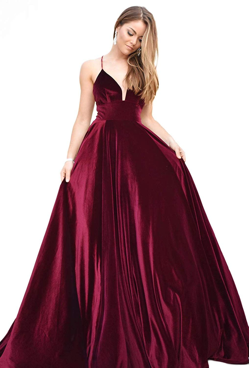 Fabric Velvet Soft And Stretchy Perfect Formal Prom Ball Gown Embellishment V Neck A Line Style With Straps Op Velvet Prom Dress Ball Dresses Prom Dresses [ 1500 x 1017 Pixel ]