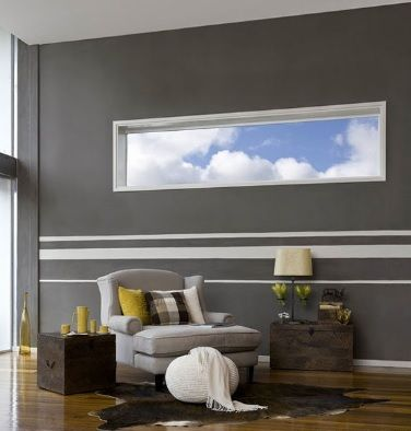 Dark Grey Walls Broken Up By A Stripped Feature Popular Interior Paint Colors Striped Walls Stripe Wallpaper Bedroom