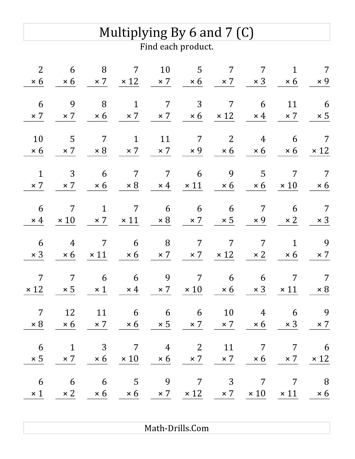 Worksheets Math Multiplication Worksheets the multiplying 1 to 12 by 6 and 7 c math worksheet from multiplication worksheets page at drills com