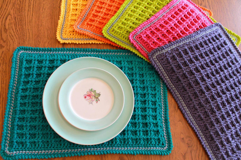Crochet Placemat Pattern Waffle Stitch Crochet Placemat Etsy In 2021 Crochet Placemat Patterns Placemats Patterns Crochet Placemats
