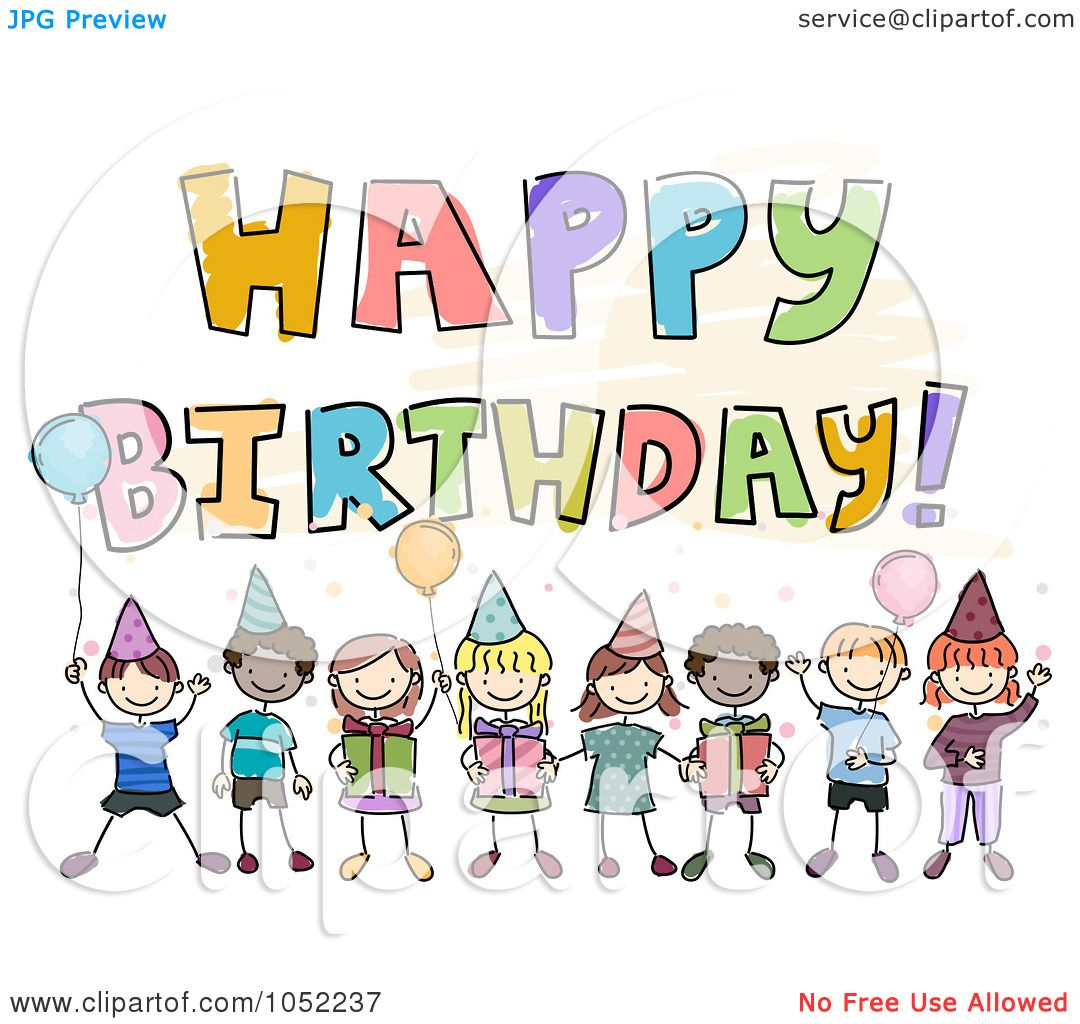Birthday Quotes For Kids Royaltyfreevectorclipartillustrationofahappybirthday
