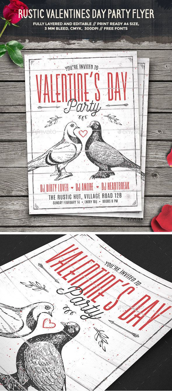 Rustic Valentines Day Party Flyer — Photoshop PSD #grunge #typography • Available here → https://graphicriver.net/item/rustic-valentines-day-party-flyer/14459848?ref=pxcr