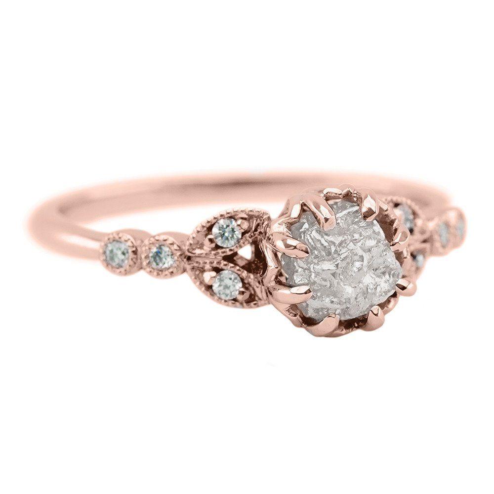 110 Carat Uncut Diamond Engagement Ring Clover Setting 14k Rose