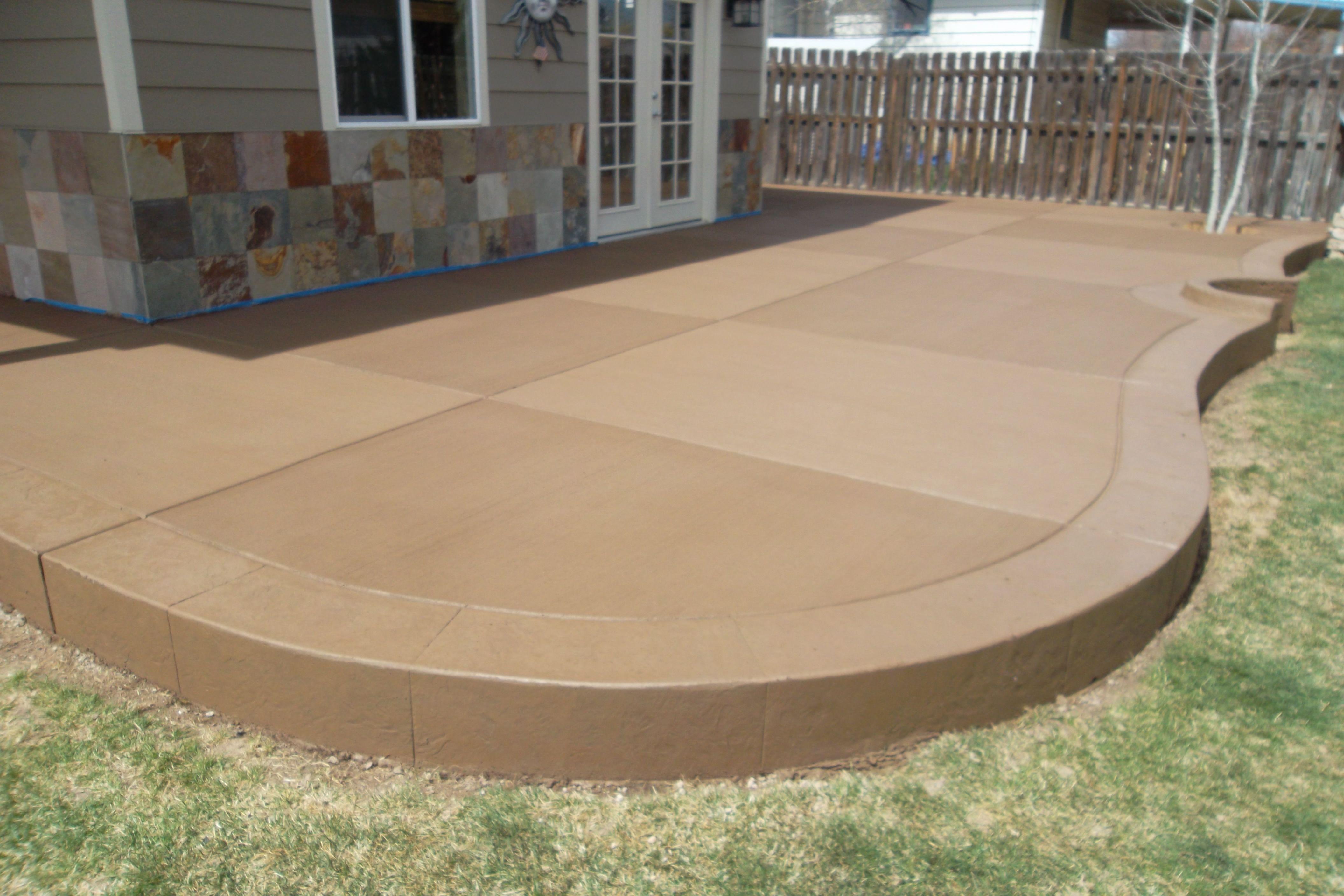sandstone colored concrete patio