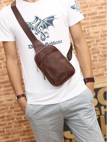 bcdd98ee6 Bolsos no peito retro cintura Pochete Pochete masculina perna de couro  corrida caminhada couro taticas pequena bolsa esportiva