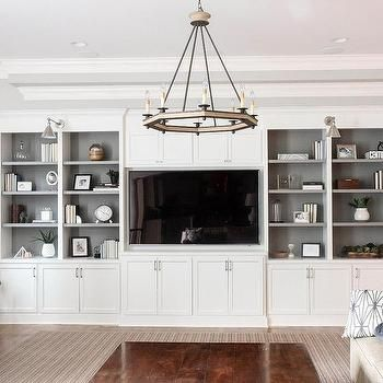 Living Room with White Built-in Shelving and Grey Backs   Park and Oak Interior Design