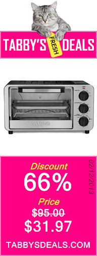 Waring WTO450 Professional Toaster Oven, Brushed Stainless Steel $31.97