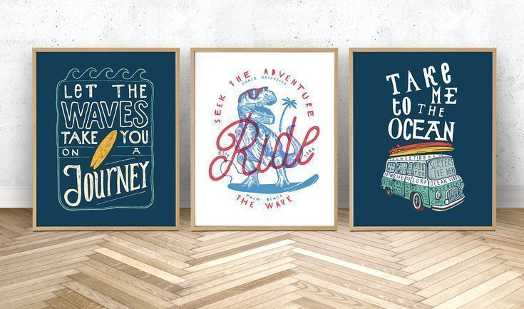 This set of three surfing and dinosaur prints are the perfect finishing touch for your walls! Downl