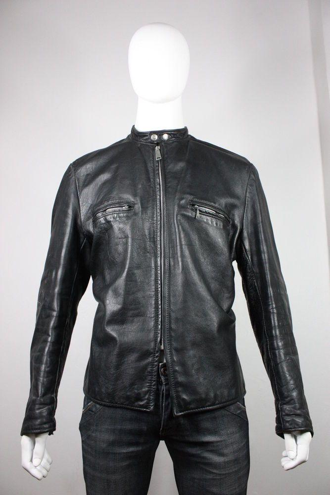 Vintage Mens 60 S Brooks Leather Black Cafe Racer Motorcycle Jacket Large Motorcycle Jacket Jackets Leather Jacket