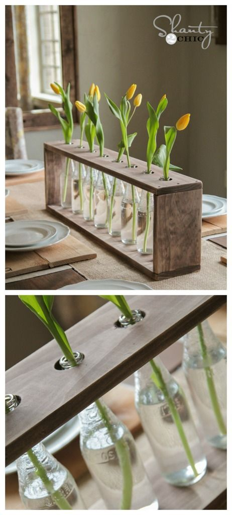 Diy flower vase centerpiece using recycled glass bottles diy bricolaje decoracion reciclaje - Bricolaje y decoracion ...