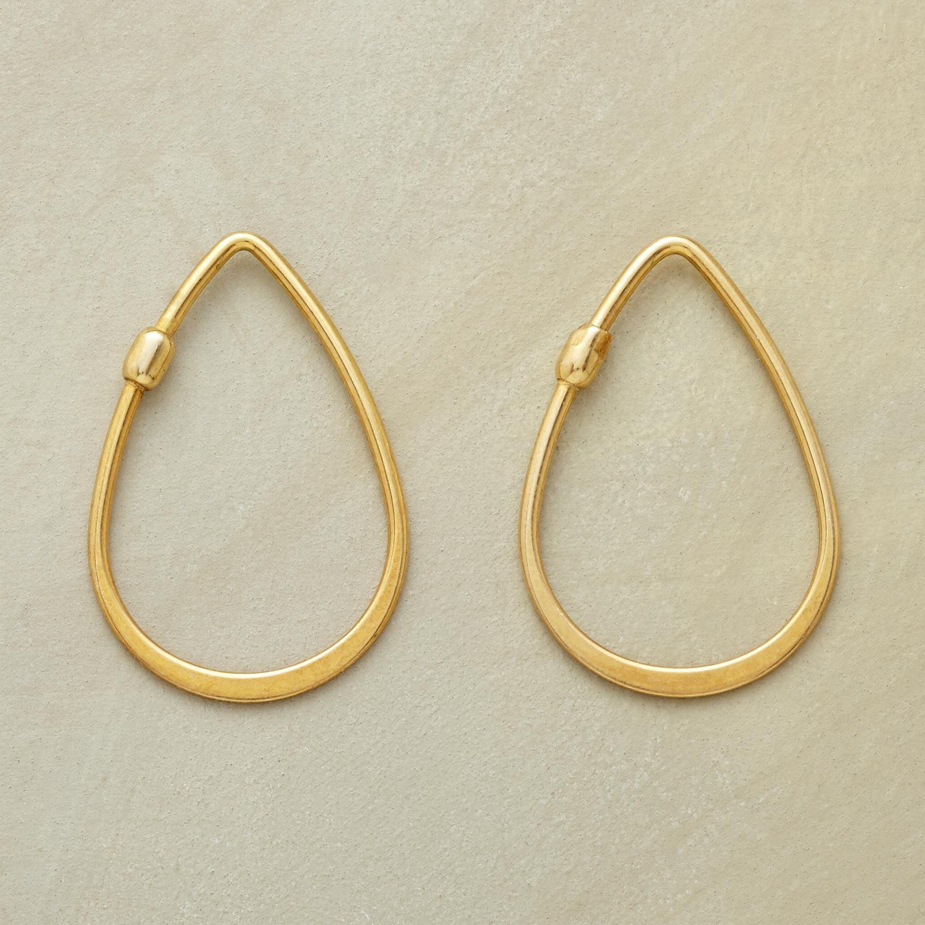 e12eaafc7 18KT GOLD PLATE TEARDROP HOOPS -- Simply elegant forged 18kt gold plate  teardrop hoop earrings level out as they round the curve. Self-locking with  one end ...
