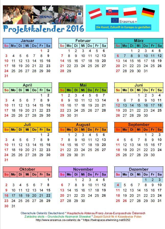 Projektkalender 2016 Free Printable Calendar Templates Monthly