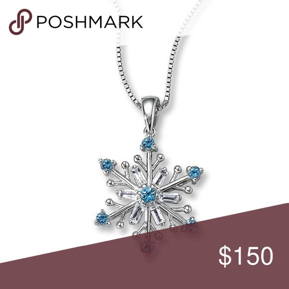 Kay Jewelers Frozen Blue White Topaz Snowflake White Topaz Kay Jewelers Womens Jewelry Necklace