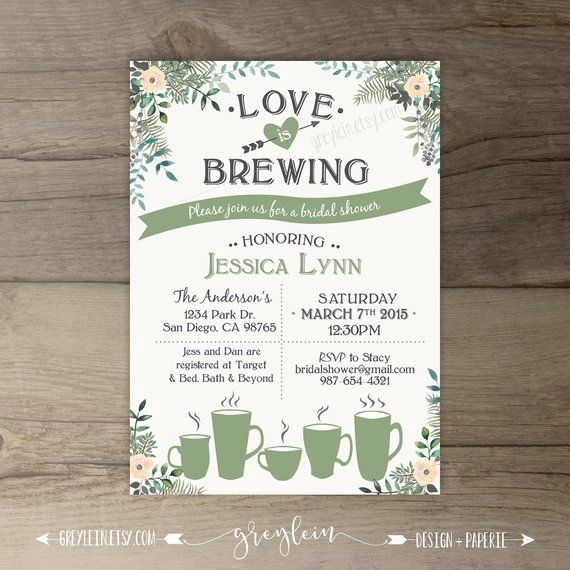 21f884c39d67 Love is Brewing Bridal Shower Invitations • Floral Tea Party • Tea Cups  Coffee Mugs • printable