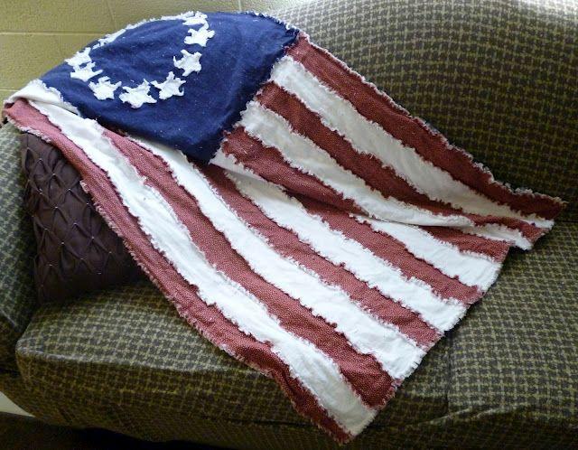 USA Flag Rag Quilt Tutorial