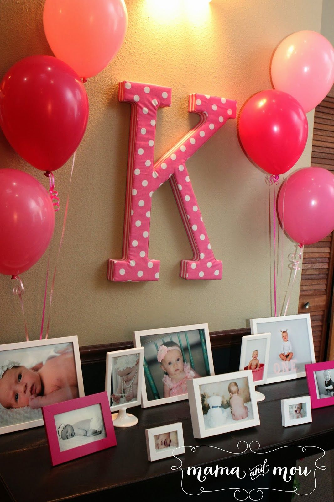 Simple picture frames with pictures... Minus all the pink