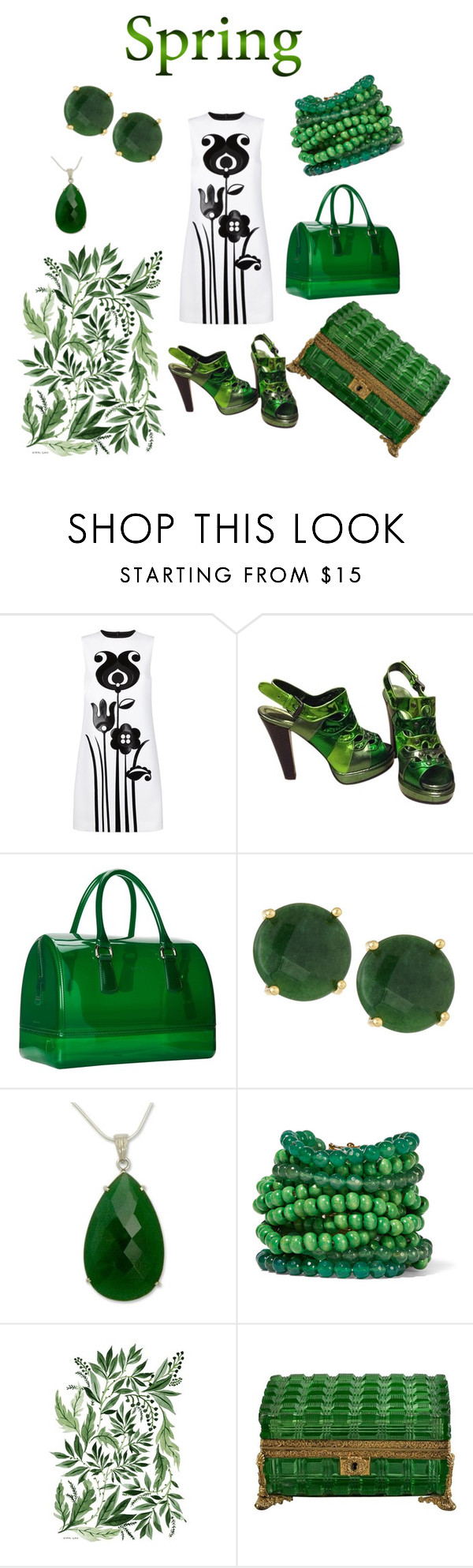 """Spring Dress"" by styledbytjohnson ❤ liked on Polyvore featuring Victoria, Victoria Beckham, Bottega Veneta, Furla, Panacea, NOVICA and Rosantica"
