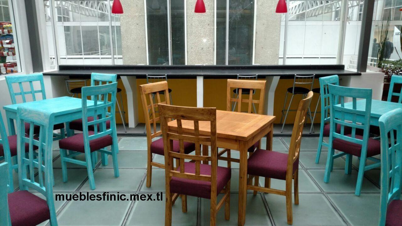 Muebles para restaurantes mesas y sillas rusticas para for Mobiliario para cafes