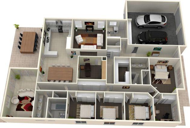 House plans modern 3d