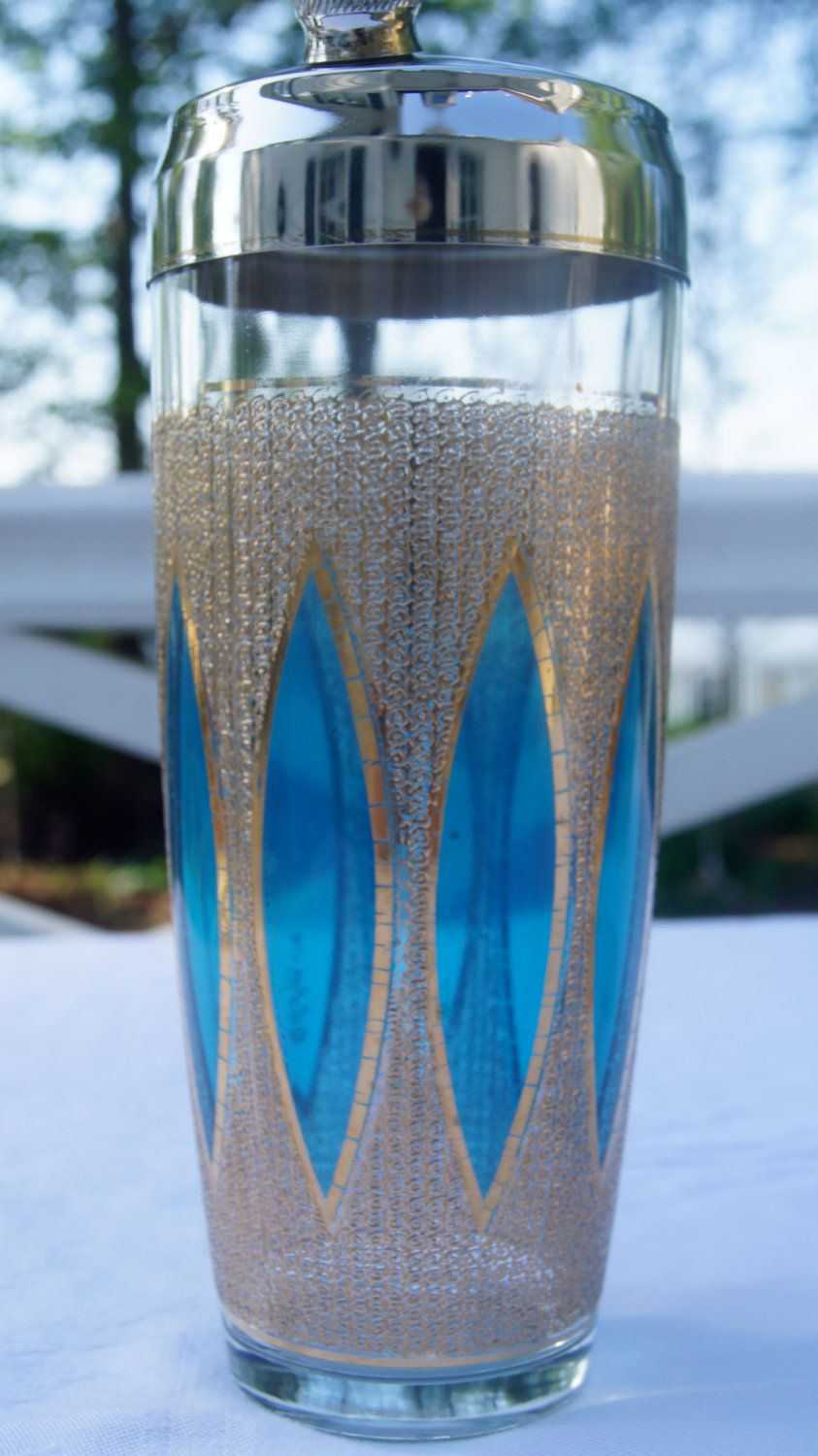 Good Culver Glass Shaker In Good Vintage Condition, Rare Turquiose Color, 1950s  Barware