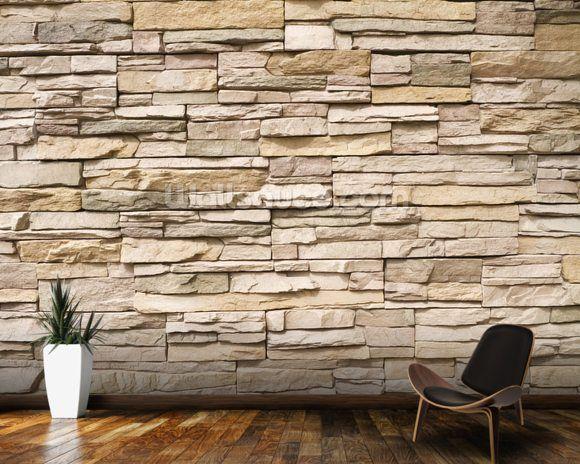 Stacked Stone Wall Wall Mural Wallsauce Us Stacked Stone Walls Stone Cladding Stone Wall