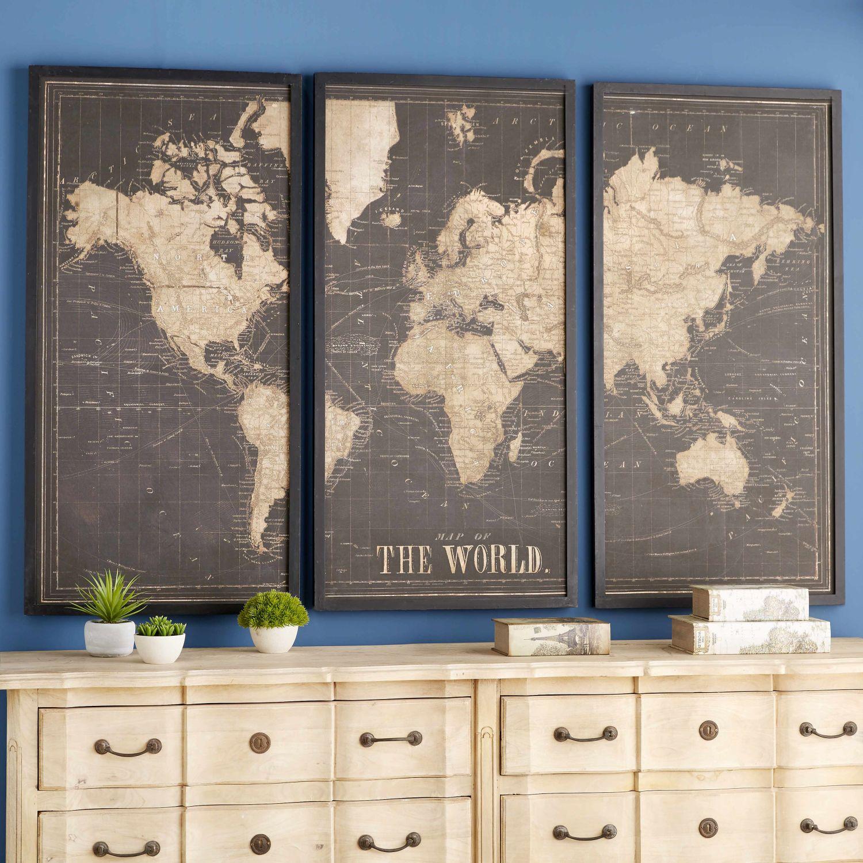 cadre triptyque carte du monde noir 180x120 bouffe en. Black Bedroom Furniture Sets. Home Design Ideas