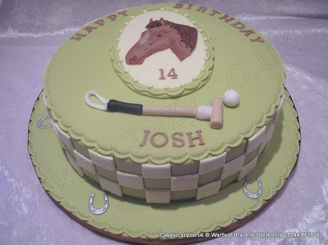 Round birthday celebration cake with a polo theme finished with a