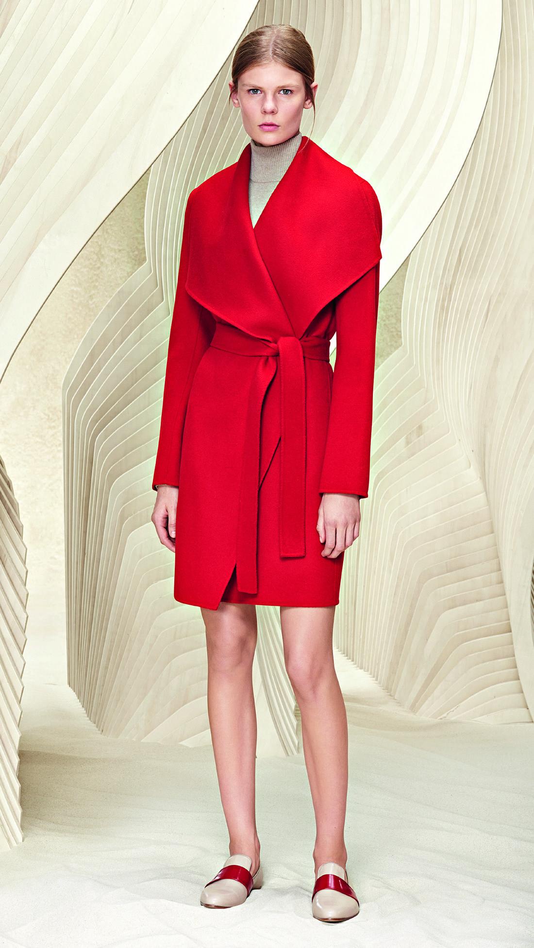 99ec425d6a0 Hugo Boss 'Catifa' shawl red wrap coat. Debuted Nov 2015. Click for more  details
