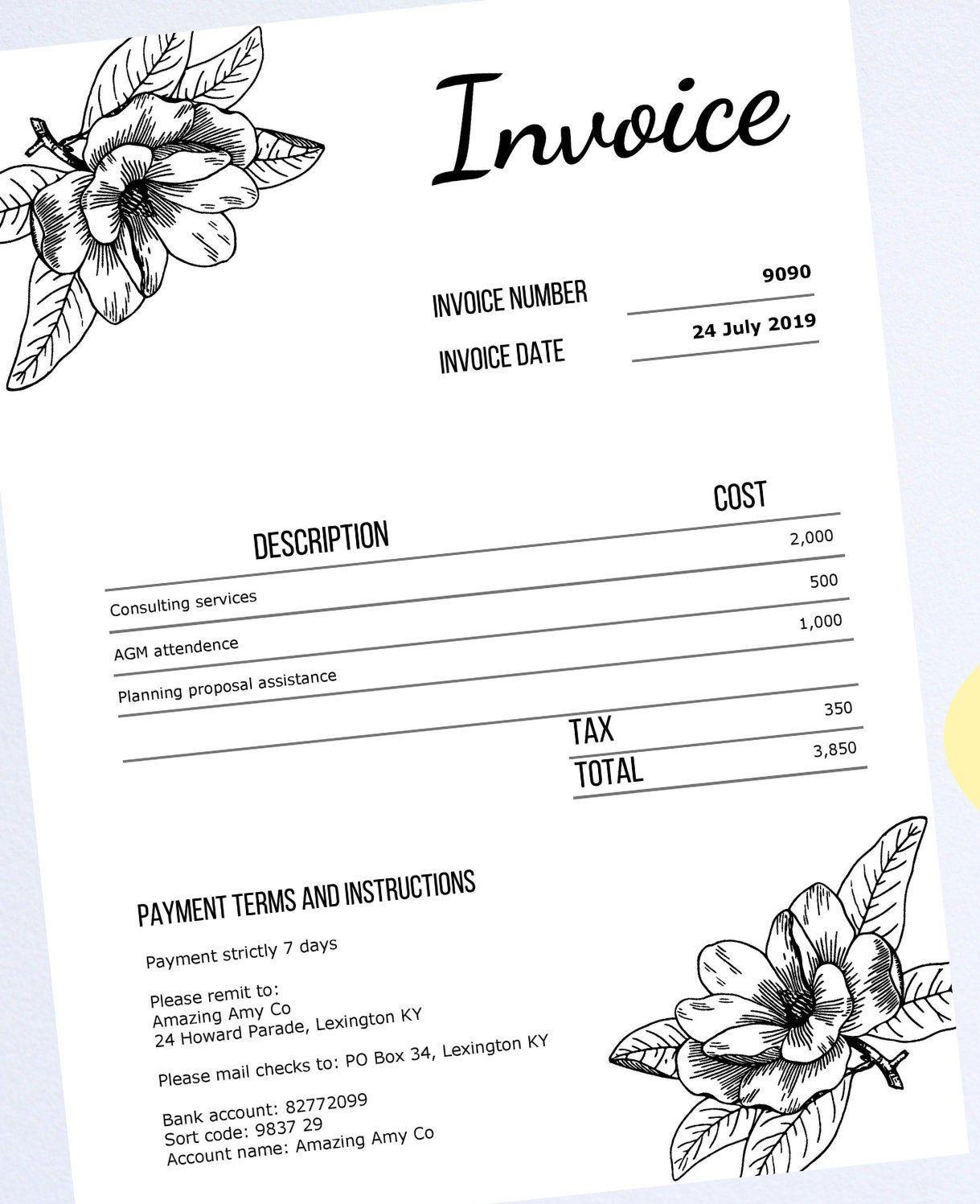 Editable Pdf Invoice Template Professional Invoice Business Etsy Invoice Template Printable Day Planner Lettering Design