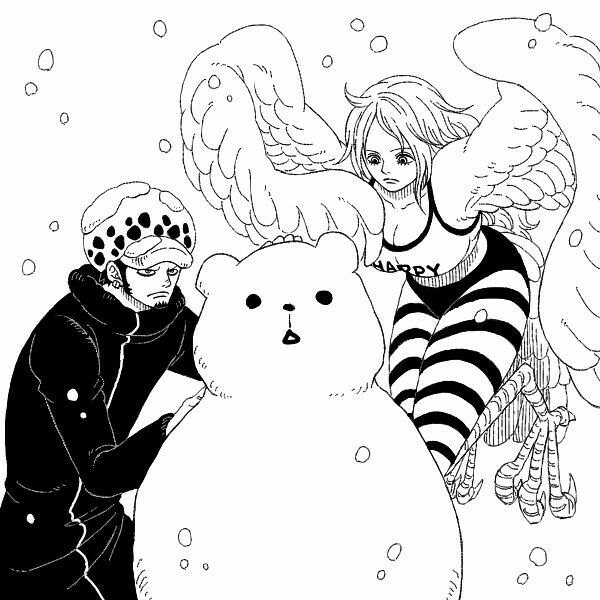 Law Monet Bepo Snowman Funny Snowing Winter One Piece One Piece Anime One Piece Luffy Good Anime To Watch
