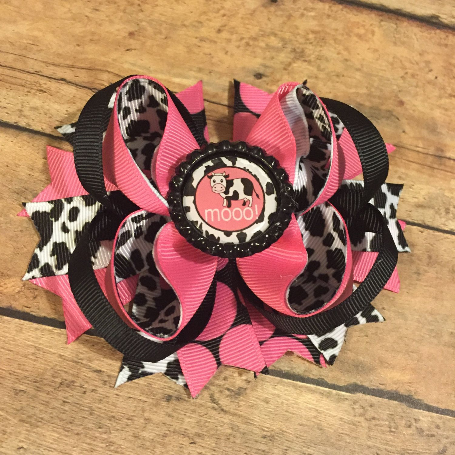 Rts Girls Farm Birthday Party Hair Bow Boutique Stacked Bottle Cap Bow Pink Cow Hair Bow Coun With Images Girls Farm Birthday Girl Farm Birthday Party Country Girl Hair