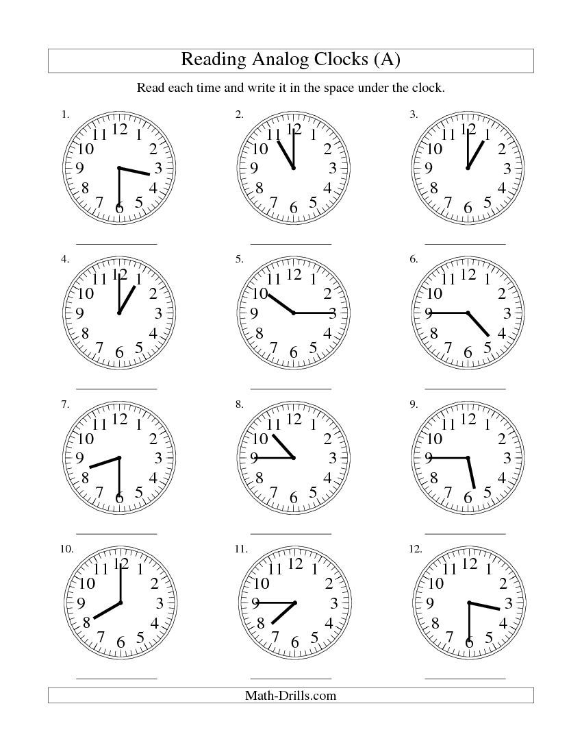 clock worksheets | Reading Time on an Analog Clock in 15 Minute ...