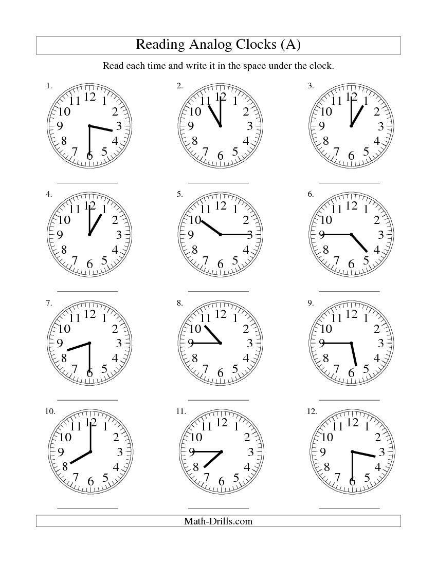 clock worksheets   Reading Time on an Analog Clock in 15 Minut…   Hoja de  trabajo para matemáticas [ 1100 x 850 Pixel ]