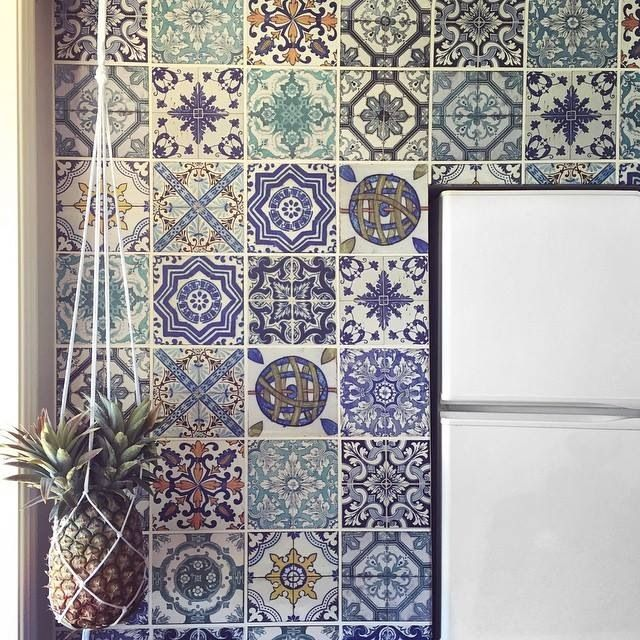 Moroccan tiles wallpaper anthropologie hanging pineapple home bar ...