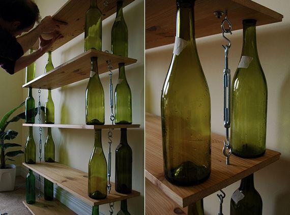 inspirierende bastel und upcycling ideen mit weinflaschen fuer diy regal creativ upcycling. Black Bedroom Furniture Sets. Home Design Ideas