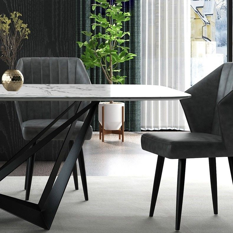 Modern Stylish Rectangle White Faux Marble Top Dining Table With Black Metal Base In Small Medium Large Dining Table Marble Marble Top Dining Table Large Dining Table