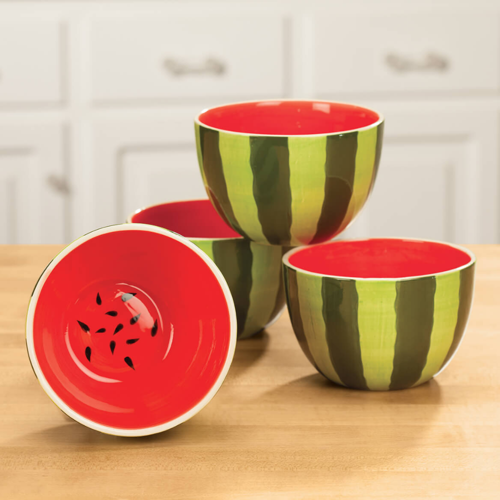 Set of 4 Ceramic Watermelon Bowls - Ceramic Bowls - Miles Kimball