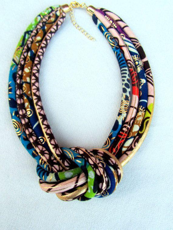 aa47a13f24 African Fashion fabric bib necklace