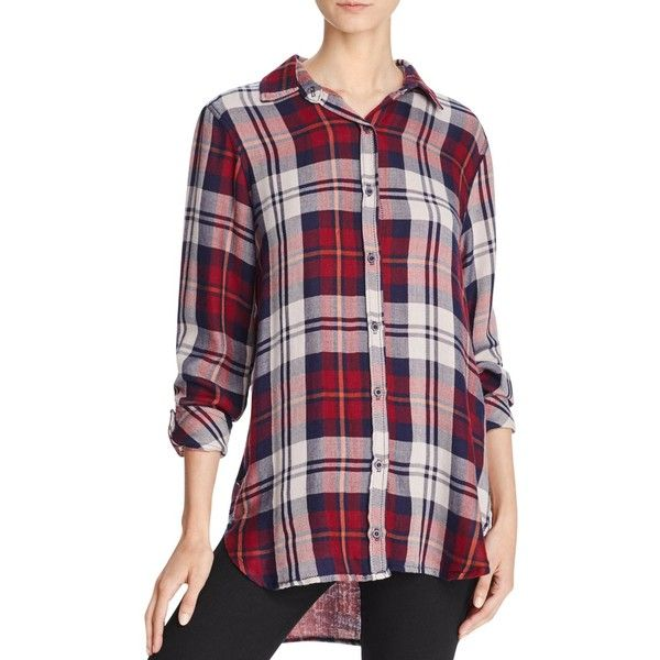 Bella Dahl Plaid Button-Down Shirt (€120) ❤ liked on Polyvore featuring tops, russet, long shirts, bella dahl shirt, button up shirts, button down shirts and button down top