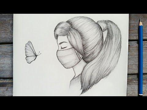 رسم سهل تعليم رسم بنت ترتدي كمامة بالرصاص للمبتدئين بطريقة سهلة وبسيطة رسم كيوت Youtube Girly Drawings Girl Sketch Drawings