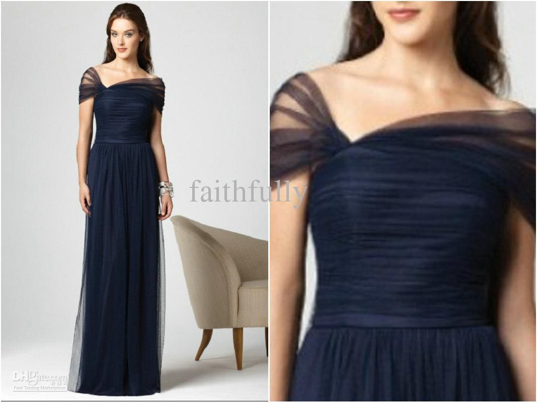 New Arrival Dark Navy Bridesmaid Dresses Stretch Tulle Cap Sleeves ...