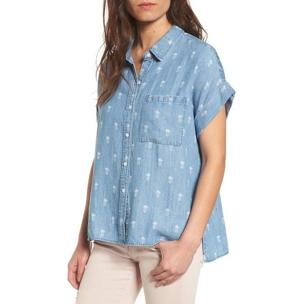 72024c71 Women's Rails Whitney Shirt ($148) ❤ liked on Polyvore featuring tops,  pineapples, pineapple print top, blue button down shirt, shirt top,  pineapple print ...