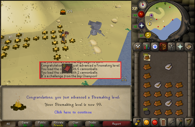 Loot From Training 99 Firemaking At The Beach
